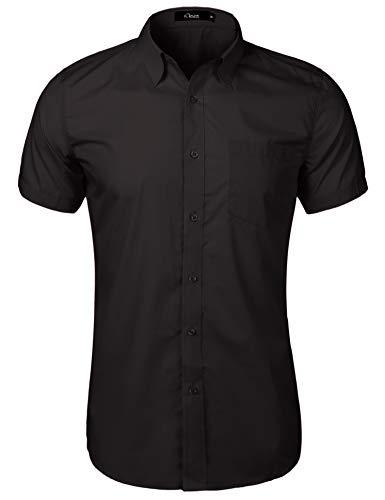 iClosam Hemd Herren Kurzarm Regular Fit Hemden für Anzug, Business, Freizeit, Hochzeit Schwarz L