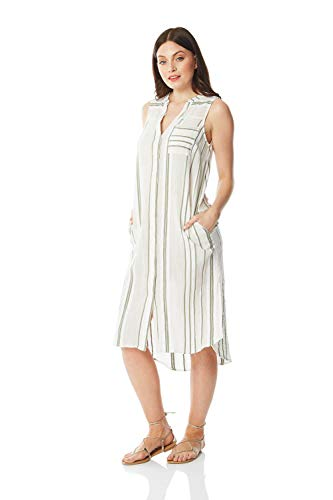 Roman Originals dames hemdblousjurk met strepen - dames, lente, zomer, casual, strand, zwembad, V-hals, knoopsluiting, mouwloos, tassen, lang, midi, A-lijn, tuniek