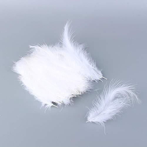 HEEPDD 200 stuks witte veren, natuurlijke Marabu veren zachte veer accessoires voor kaart versieringen Kerstmis handwerk party bruiloft dromenvanger verjaardag decoratie