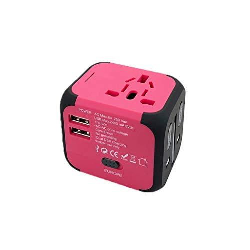 Adaptador de Viaje Adaptador Internacional Adaptador de energía, Todo en un Adaptador de Enchufe de Corriente de CA para EE. UU, UE, Reino Unido, UE (Color : Pink)