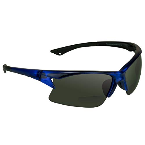 proSPORT BIFOCAL Sunglasses Readers +3.00 Smoke with Blue Frame Men Women For Cycling Running Fishing Golfing Riding and Driving