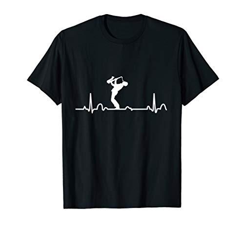 Geschenkidee für Saxophonspieler EKG Herzschlag Saxophon T-Shirt