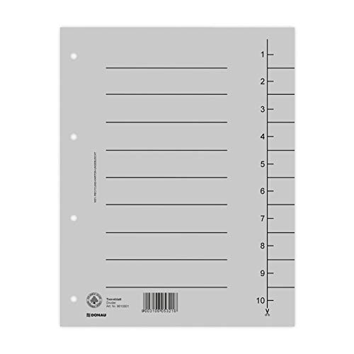 DONAU 8610001-13 100er Pack Trennblätter, Farbe: Grau/ Karton-Register überbreit Aus Recycling-Karton 250 g/qm mit Linienaufdruck für DIN A4 4-Fach Lochung Trennlaschen Trennblätter Ordner Register