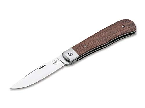 BÖKER PLUS® Bonfire Bubinga - klassisches Taschenmesser mit Holzgriff - Einhand EDC Messer mit D2 Messerklinge 8 cm - Klappmesser in Messer-Etui