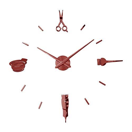 DZSW Cmdzsw Barbería Tienda barbero Tijeras Belleza salón DIY Pared Arte Gigante Reloj Grande Aguja sin Mariposa peluquería peluquería Grande Reloj Reloj (Color : Wall Clock Red, Size : 47inch)