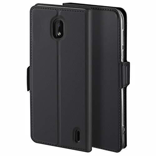 HoneyHülle für Handyhülle Nokia 2.2 Hülle Leder Premium Tasche Hülle für Nokia 2.2, Schutzhüllen aus Klappetui mit Kreditkartenhaltern, Ständer, Magnetverschluss, Schwarz