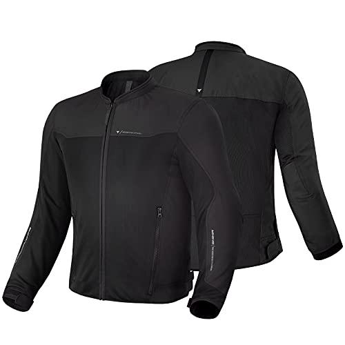 SHIMA OPENAIR Chaqueta Moto Hombre   Ligera y Transpirable Cazadora Moto Mesh de Verano Hombre con CE Espalda, Hombros, Codos Protecciones, Ajuste de la Anchura (Negro, M)
