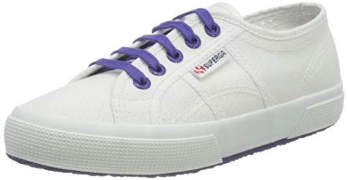 Superga 2750-COTCONTRASTU, Zapatillas de Gimnasia Unisex, Blanco (White/Violet Purple A0b), 44 EU
