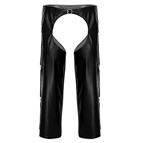 JanJean Mens Adult Wild West Cowboy Chaps Costume Loose Motorcycle Leather Chaps Pants Black XX-Large