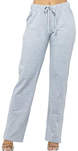 WINESTER & COMPANY Women's Sweatpants - Casual French Terry Elastic Waistband Workout Active Sports Yoga Lounge Pants FT9000 H.Grey L