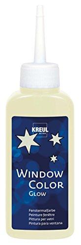 Kreul 42740 - Window Color Fenstermalfarbe auf Wasserbasis, für glatte Oberflächen wie Glas, Spiegel und Fliesen, 80 ml Malflasche, nachtleuchtgelb