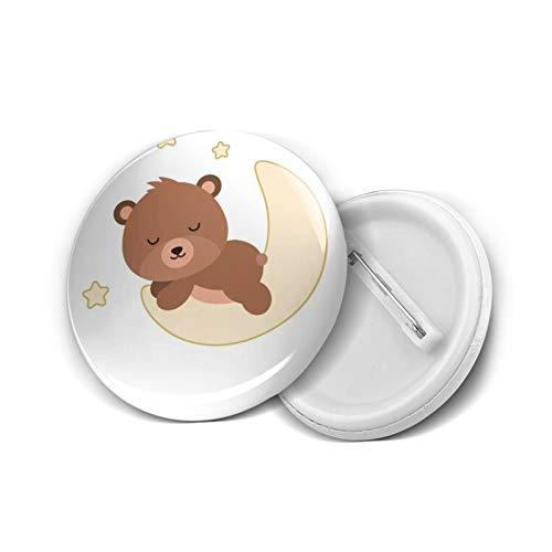 Adorable oso plano durmiendo divertido botón insignia pin de solapa regalos novedad para cumpleaños Navidad 5 piezas S