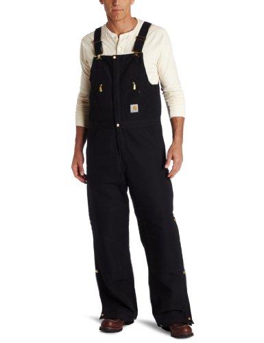 Carhartt Men's Quilt Lined Zip to Waist Biberalls, Black, 36W x 32L