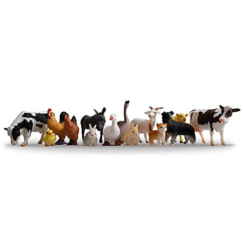 Toymany 14PCS 0.3-2  Tiny Farm Animal Figures Toy  Detailed Texture Farm Figurines Cake Topper Toy Set  Easter Egg Christmas Birthday Gift Party Favor School Project for Kids Children Toddlers