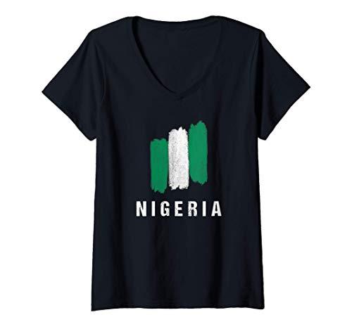 Damen Gemalte Nigeria Fahne / Nigerianische Flagge Fan Geschenk T-Shirt mit V-Ausschnitt