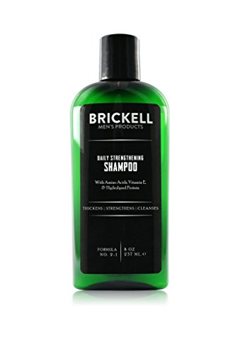 Brickell Men's Products Daily Strengthening Shampoo for Men, Natural and Organic Featuring Mint and Tea Tree Oil To Soothe Dry and Itchy Scalp, Sulfate Free and Paraben Free, 8 Ounce, Scented