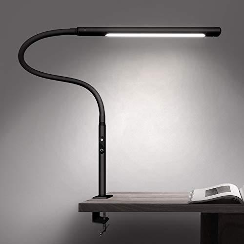 YOLIC デスクライト LED電気スタンド アームライト スタンドライト 卓上ライト クリップライト 読書灯 目に優しい無段階調光 調色 タイマー 記憶機能付き 平面発光 360度回転アーム ブラック