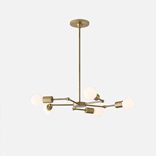 BANANAJOY Lámparas colgantes o de Europa del Norte Arte hierro llevó la lámpara, 5 armas de habitaciones Restaurante vivo Dormitorio geometría de la línea de la lámpara, Negro (Color : Bronze)