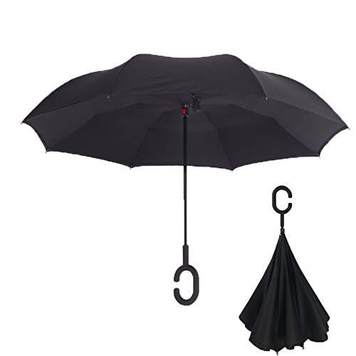 Paraguas invertido Indoostrial, elegante paraguas negro con tecnología de paraguas antiviento resistente. Paraguas plegable de doble capa. Incluye mango manos libres en forma de C. Paraguas invertido!