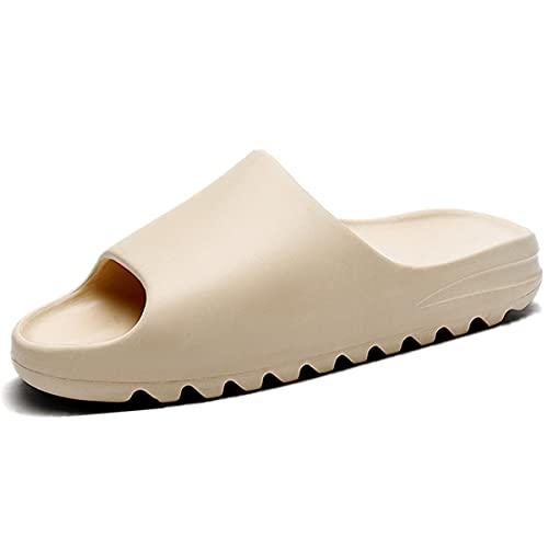 Pillow Slide Sandal Summer Open Toe Slippers for Men and Women ,Women's House Shoes Non-Slip thick Soft Platform slides Massage Shower Bathroom Slipper for Adult Couples Indoor Outdoor Beige-44-45
