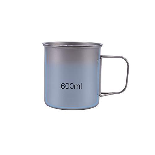 Taza de titanio de 600 ml con tapa, taza de agua de picnic,