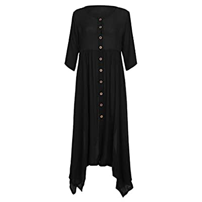 2019 Fashion!Women Linen Maxi Dress Plus Size Loose Bohemian Solid Button Cardigan Sundress Black by Leewos