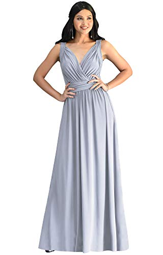 KOH KOH Petite Womens Long Sleeveless Flowy Bridesmaids Cocktail Party Evening Formal Sexy Summer Wedding Guest Ball Prom Gown Gowns Maxi Dress Dresses, Gray Grey XS 2-4