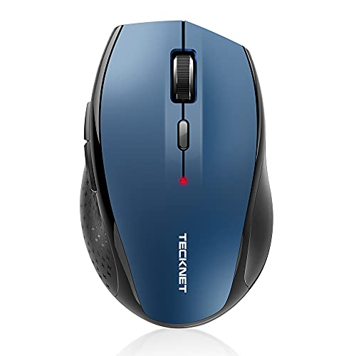 Bluetooth Wireless Mouse, TECKNET 5 Adjustable DPI Levels, 24-Month Battery Life, 6 Buttons Compatible for Ipad/Laptop/Surface Pro/Windows Computer/Chromebook-Blue