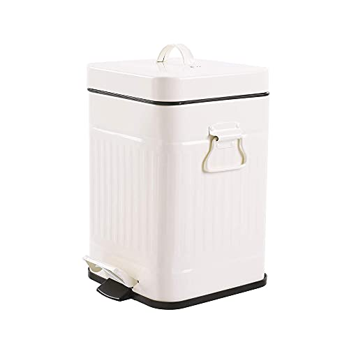 Bathroom Trash Can with Lid, Small Cream Color
