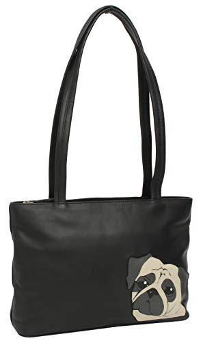 Gusti Shopper Henkeltasche Handtasche mit Motiv Mops - Georgia Tasche Schwarz Leder