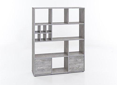 WILMES Regal Raumteiler mit 4 Schubladen und 13 Fächern, Spanplatte, Melamin Dekor Beton, 104 x 29 x 142 cm