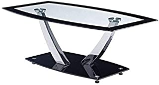 Global Furniture Clear/Black Trim Occasional Coffee Table with Chrome Legs