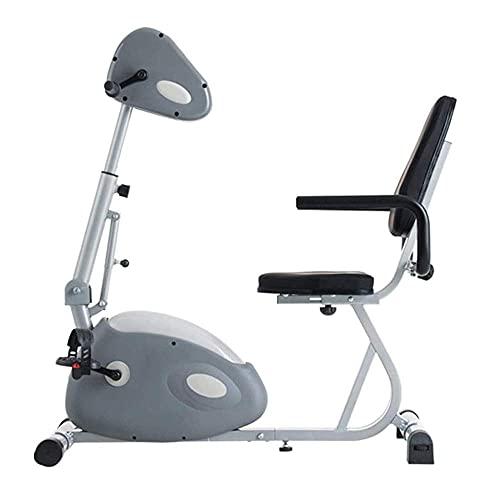 SAFGH Bicicleta reclinada Bicicleta estática, Bicicleta estática para Interiores con Resistencia magnética, 10 Niveles de Resistencia Ajustables, Ejercitador motorizado de Pedal para piernas y Bra