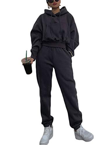 Onsoyours Traingsanzug Damen Sportanzug Jogginganzug Zweiteiler Trainingsanzug Mode 2 Stück Set Freizeitanzug Kapuzenpullover Sportswear Sport Outfit (M, Dunkelgrau)