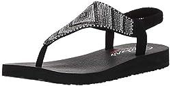 Black Aztec Rhinestone Slingback Thong Flip-Flop