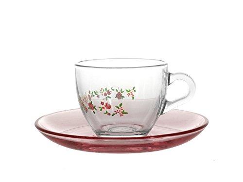 Pasabahce 97984Spring. Confección de 6 Unidades de tazaz de café de Cristal con Plato, 8.5cl.Transparente - Multicolor