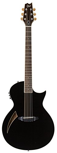 esp acoustic guitar pickups ESP LTD TL-6 Thinline Acoustic Electric Guitar with Resonant Chamber, Black
