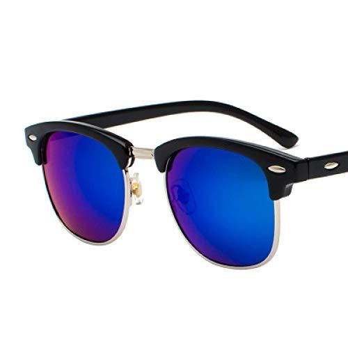 chengguo Gafas de Sol clásicas Semi sin Montura Hombres Mujeres 2021 Gafas de Sol cuadradas polarizadas Hombres UV400 Gafas Retro Negro-Azul Marino