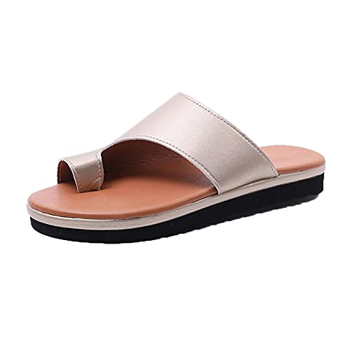 NUGKPRT chanclas,Zapatillas de verano Cómodas Chanclas de playa antideslizantes Mujer Anillo Dedo del pie Tacones bajos Diapositivas 41 Oro