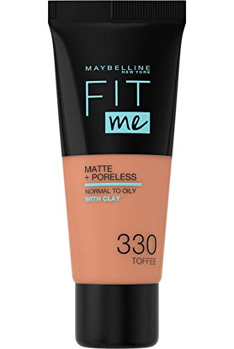 Maybelline New York - Fit Me, Base de Maquillaje Mate Afina Poros, Tono 330 Toffee - 30 ml