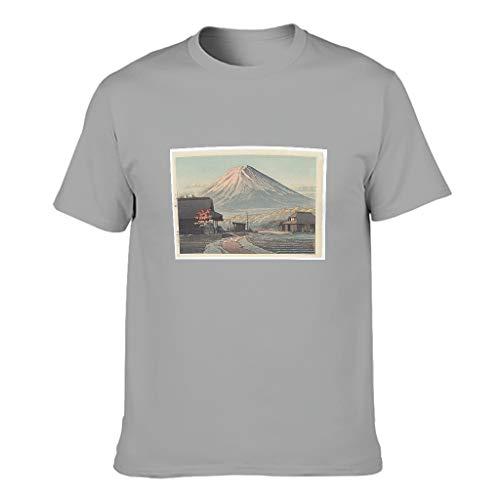 Ukiyo-e Fuji Berg  Camiseta de algodn para hombre, estilo vintage japons personalizado gris S