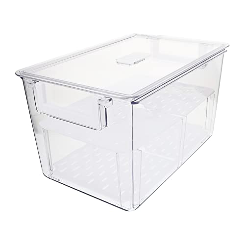 Caja Transparente de Contenedores de Almacenamiento de Alimentos: Nevera Caja de Almacenamiento de Frutas Y Verduras Caja Organizadora de Doble Capa para Alimentos Frutas Verduras