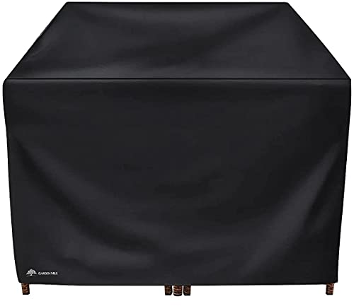 Garden Mile Rattan Cube Set Cover L125 x W125 x H74cm Black Waterproof Garden Furniture Cover Outdoor Indoor Patio Furniture Table Covers Windproof & Anti-UV Wipe Clean Furniture Protector