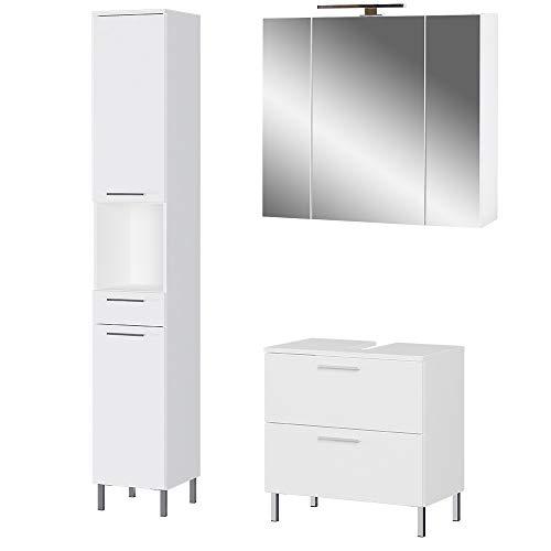 Germania 3-tlg. Badezimmer-Set 8272-84 GW-Arvada, bestehend aus Waschbeckenunterschrank, Spiegelschrank und Hochschrank, in der Farbe Weiß