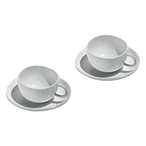 Officina Alessi - SAN06SET - Fruit basket Set di due tazze da caffè con sottotazza in bone china.