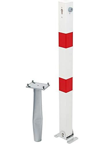 GAH-Alberts 780968 Absperrpfosten Klappy-Bo - umlegbar, zum Einbetonieren, mit gleichschließendem Profilzylinderschloss und drei Schlüsseln, feuerverzinkt, weiß mit roten Ringen, 70 x 70 / 1000 mm