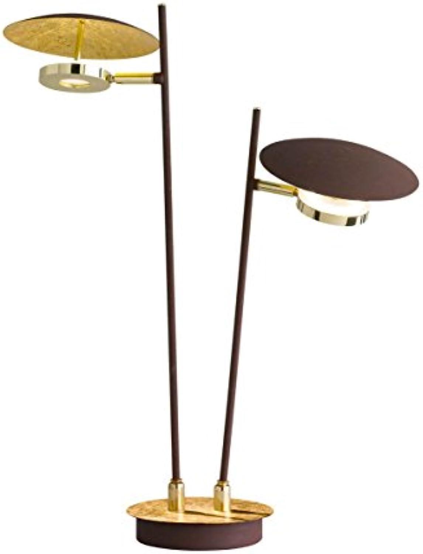 WOFI Tischleuchte, Metall, Integriert, 48 W, Goldfarbig, 12 x 45 x 510 cm