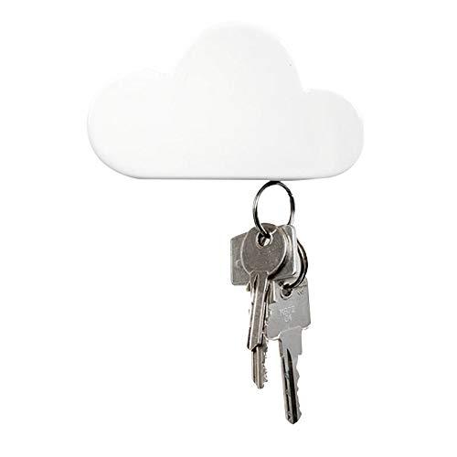 ZONJIE Portallaves magnético de pared con nube blanca, fácil de montar – para guardar llaves, decoración del hogar o como regalo para amigos y familiares – blanco