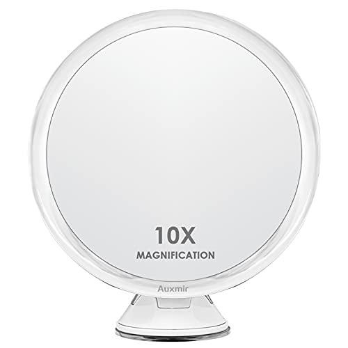Auxmir Specchio Ingranditore 10X Specchio Trucco a Ventosa 360° Girevole Portabile, Specchio Cosmetico Professionale da Tavolo, Diametro 17,5 CM, Ideale per Bagno, Trucco, Viaggio