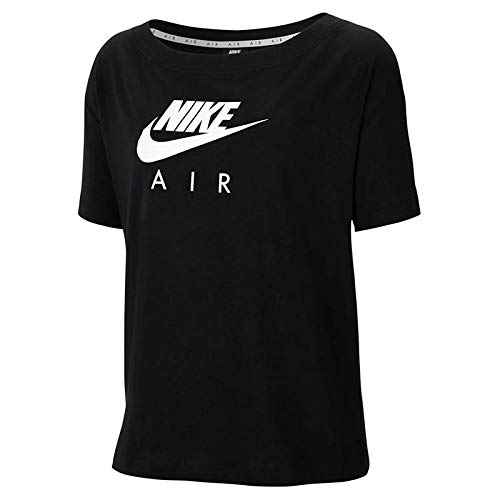 Nike W NSW AIR Top SS BF T-Shirt Femme, Black/White/(White), FR : M (Taille Fabricant : M)